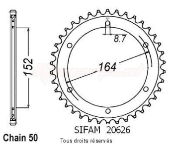Product image: Sifam - 20626CZ42 - Chain wheel rear Sr 500 78-90   Type 530/Z42