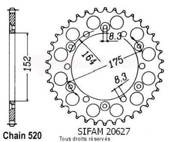 Product image: Sifam - 20627AZ47 - Chain wheel rear Yamaha 125/250 Yz 1981-1998 Type 520/Z47