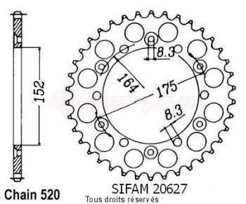 Product image: Sifam - 20627AZ49 - Chain wheel rear Yamaha 125/250 Yz 1981-1998 Type 520/Z49