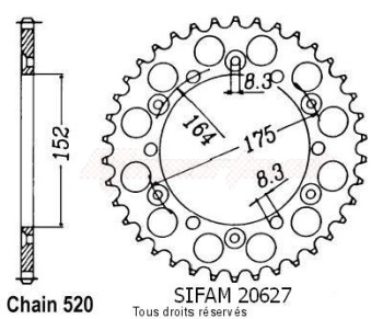 Product image: Sifam - 20627AZ50 - Chain wheel rear Yamaha 125/250 Yz 1981-1998 Type 520/Z50