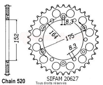 Product image: Sifam - 20627AZ51 - Chain wheel rear Yamaha 125/250 Yz 1981-1998 Type 520/Z51