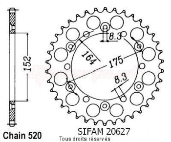 Product image: Sifam - 20627CZ44 - Chain wheel rear Yamaha 125/250 Yz 1981-1998 Type 520/Z44