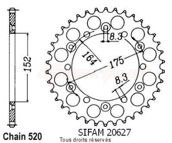 Product image: Sifam - 20627CZ48 - Chain wheel rear Yamaha 125/250 Yz 1981-1998 Type 520/Z48
