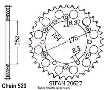 Product image: Sifam - 20627CZ49 - Chain wheel rear Yamaha 125/250 Yz 1981-1998 Type 520/Z49