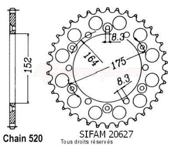 Product image: Sifam - 20627CZ50 - Chain wheel rear Yamaha 125/250 Yz 1981-1998 Type 520/Z50