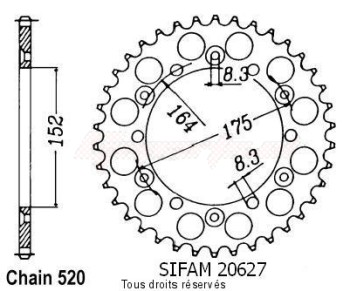 Product image: Sifam - 20627CZ51 - Chain wheel rear Yamaha 125/250 Yz 1981-1998 Type 520/Z51