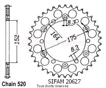 Product image: Sifam - 20627CZ52 - Chain wheel rear Yamaha 125/250 Yz 1981-1998 Type 520/Z52