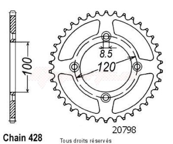 Product image: Sifam - 20798AZ47 - Chain wheel rear Suzuki Yamaha 80/85 Yz/Rm 1993-2008 Type 428/Z47