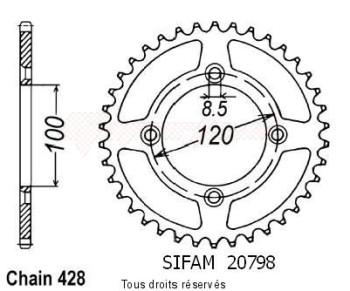 Product image: Sifam - 20798AZ50 - Chain wheel rear Suzuki Yamaha 80/85 Yz/Rm 1993-2008 Type 428/Z50