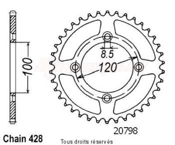 Product image: Sifam - 20798AZ52 - Chain wheel rear Suzuki Yamaha 80/85 Yz/Rm 1993-2008 Type 428/Z52