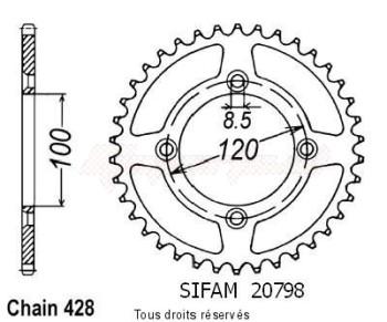 Product image: Sifam - 20798CZ47 - Chain wheel rear Suzuki Yamaha 80/85 Yz/Rm 1993-2008 Type 428/Z47