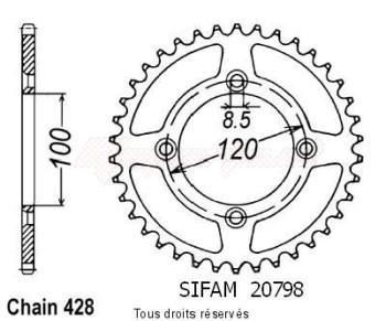 Product image: Sifam - 20798CZ52 - Chain wheel rear Suzuki Yamaha 80/85 Yz/Rm 1993-2008 Type 428/Z52
