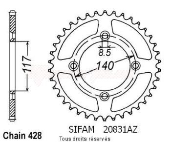 Product image: Sifam - 20831AZ46 - Chain wheel rear Yamaha 80 Yz 1984-1992 Type 428/Z46
