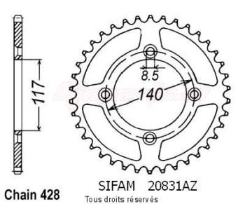 Product image: Sifam - 20831AZ48 - Chain wheel rear Yamaha 80 Yz 1984-1992 Type 428/Z48