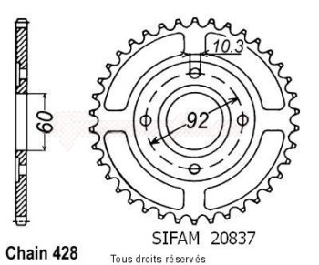 Product image: Sifam - 20837CZ39 - Chain wheel rear Rd 125 Dx Baton 78-81   Type 428/Z39