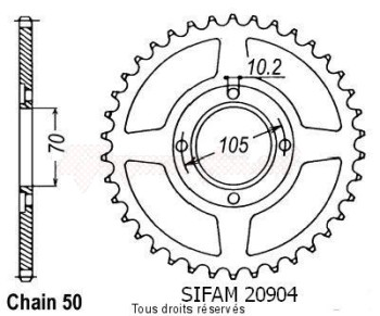 Product image: Sifam - 20904CZ38 - Chain wheel rear Cb 360 F 73-76 Cb 400 F 75-79 Type 530/Z38