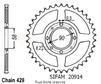Product image: Sifam - 20914CZ34 - Chain wheel rear Cg 125 77-84   Type 428/Z34