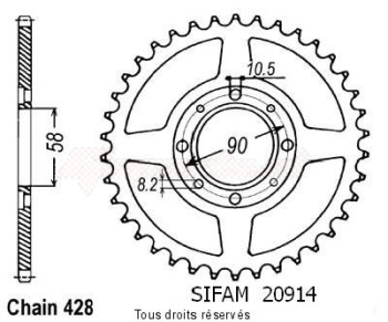 Product image: Sifam - 20914CZ36 - Chain wheel rear Cg 125 98-99   Type 428/Z36