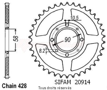 Product image: Sifam - 20914CZ39 - Chain wheel rear Cb 125 S/T2/Twin   Type 428/Z39