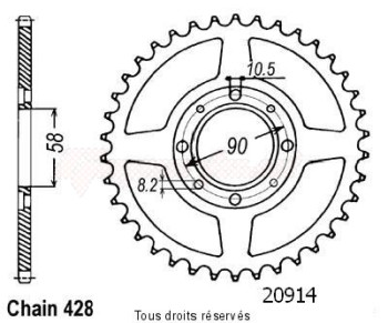 Product image: Sifam - 20914CZ42 - Chain wheel rear Cg 125 Bresil 85-94   Type 428/Z42