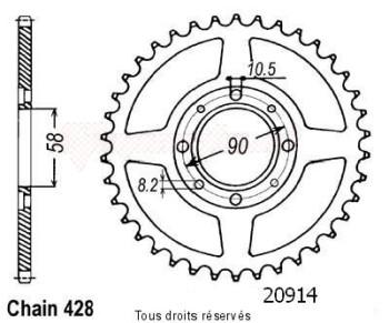 Product image: Sifam - 20914CZ43 - Chain wheel rear Cm 125 Custom 82-86   Type 428/Z43