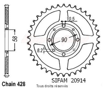 Product image: Sifam - 20914CZ52 - Chain wheel rear Xls/Xr 125 79-87   Type 428/Z52