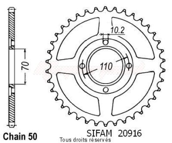 Product image: Sifam - 20916CZ36 - Chain wheel rear Cb 400 T 77-80   Type 530/Z36