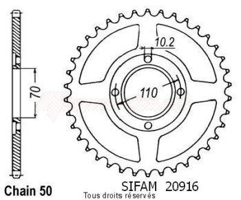 Product image: Sifam - 20916CZ41 - Chain wheel rear Cb 250 Twin/N 78-82   Type 530/Z41