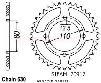 Product image: Sifam - 20917CZ41 - Chain wheel rear Cb 750 Four 78   Type 630/Z41