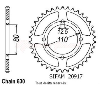 Product image: Sifam - 20917CZ43 - Chain wheel rear Honda Cb 750 F2 78   Type 630/Z43