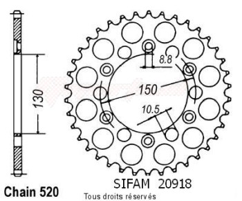 Product image: Sifam - 20918CZ39 - Chain wheel rear Xls 500 S 80-81   Type 520/Z39