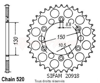 Product image: Sifam - 20918CZ43 - Chain wheel rear 650 Slr 97-98 Xls 400 81 Type 520/Z43
