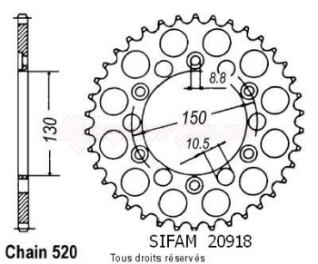 Product image: Sifam - 20918CZ44 - Chain wheel rear Xl 250 Rc Prolink 82-   Type 520/Z44