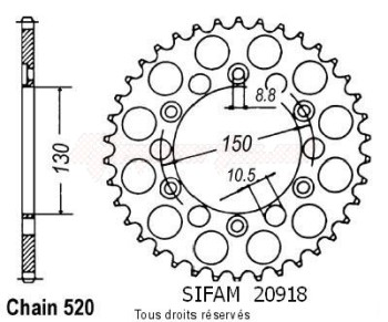 Product image: Sifam - 20918CZ45 - Chain wheel rear Nx 650 Dominator 88-9   Type 520/Z45