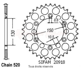 Product image: Sifam - 20918CZ50 - Chain wheel rear Xr 600 R 88-90   Type 520/Z50