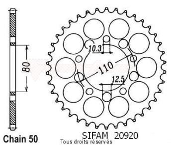 Product image: Sifam - 20920CZ39 - Chain wheel rear Vf 750 C 93-98   Type 530/Z39