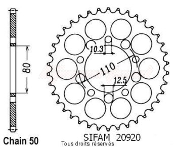 Product image: Sifam - 20920CZ43 - Chain wheel rear Cbr 600 F 87-90 Cbx 550 F 82-86 Type 530/Z43