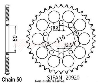Product image: Sifam - 20920CZ44 - Chain wheel rear Cb 900 Bol D'Or 78-84   Type 530/Z44