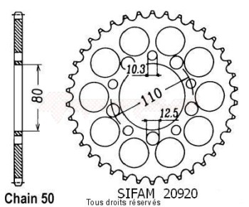 Product image: Sifam - 20920CZ45 - Chain wheel rear Vfr 750 F 86-89   Type 530/Z45