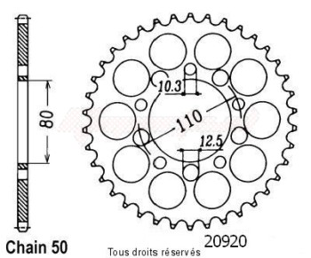 Product image: Sifam - 20920CZ46 - Chain wheel rear Vf 400 F 83-86 Cb 750 F 80-84 Type 530/Z46