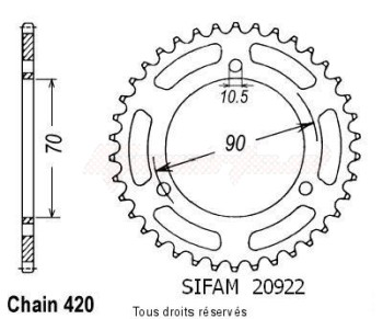 Product image: Sifam - 20922CZ38 - Chain wheel rear Mtx 50 84-90   Type 420/Z38