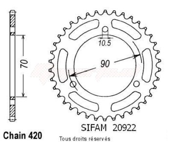 Product image: Sifam - 20922CZ40 - Chain wheel rear Mt 80 S 80-   Type 420/Z40