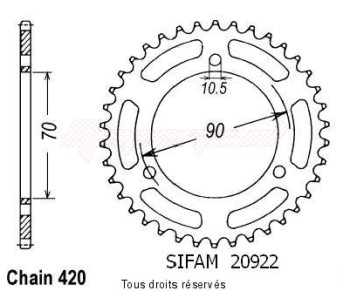 Product image: Sifam - 20922CZ42 - Chain wheel rear Mtx 80 R 83-86   Type 420/Z42