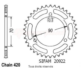 Product image: Sifam - 20922CZ45 - Chain wheel rear Mtx 80 S 80-82   Type 420/Z45