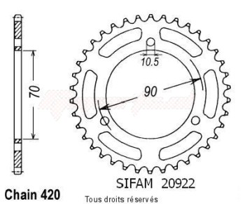 Product image: Sifam - 20922CZ47 - Chain wheel rear Cr 80 Rb 81 Steel   Type 420/Z47