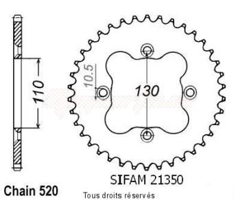 Product image: Sifam - 21350CZ38 - Chain wheel rear Honda Trx 250 R 91-92 Trx 300 Ex 93-98 Trx 400 Ex 2000