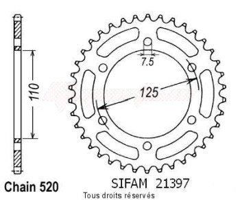Product image: Sifam - 21397CZ41 - Chain wheel rear 125 Aletta ORO 85-87   Type 520/Z41