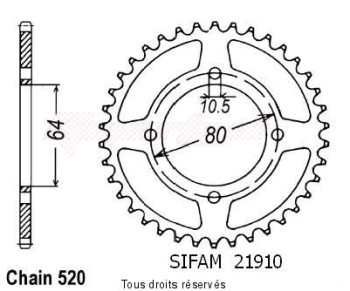 Product image: Sifam - 21910CZ32 - Chain wheel rear Yamaha 125 Breeze 89-   Type 520/Z32