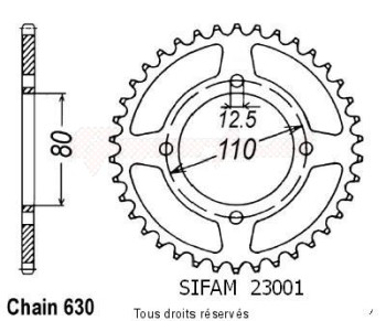 Product image: Sifam - 23001CZ38 - Chain wheel rear Cb 750 Kz 79   Type 630/Z38