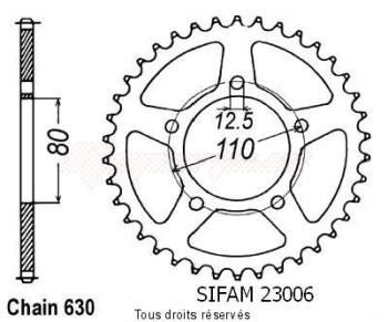 Product image: Sifam - 23006CZ35 - Chain wheel rear Cbx 1000 Z 79-80   Type 630/Z35
